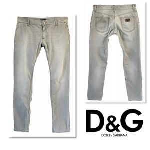 DOLCE & GABBANA GRAY STRAIGHT SLIM LEG DENIM JEANS